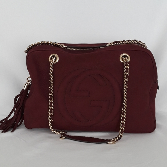 Gucci Handbags - New GUCCI 353126 Soho Nubuck Burgundy Shoulder bag